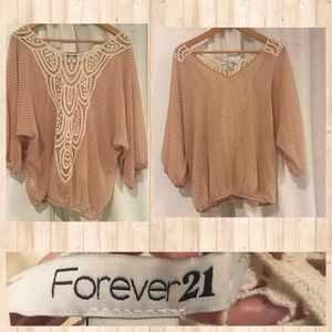 Light pink sheer top with lace back